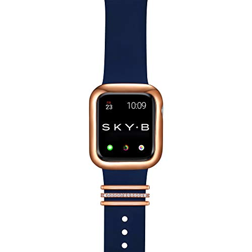 SKYB Minimalist Apple Watch Case with London Watch Band Charms and Silicone Sports Band Set - 14K Rose Gold Plated with Cubic Zirconia for 44mm Apple Watch Series 4, 5