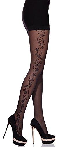Merry Style Collant Fin Fantaisie à Motif Lingerie Sexy Sous-vêtements Femme MS 284 20 DEN (Noir-7, M)