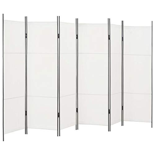 vidaXL Raumteiler 6-TLG. Klappbar Paravent Trennwand Umkleide Sichtschutz Spanische Wand Raumtrenner Raumtrennwand Schlafzimmer Weiß 300x180cm