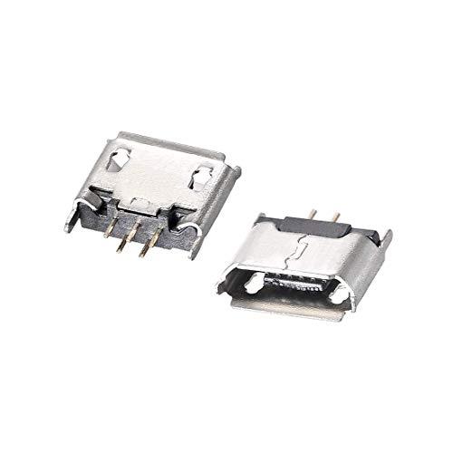 N/D 10 piezas Micro USB Hembra conector Jack Port, 5 pines 180 grados, adaptador de repuesto