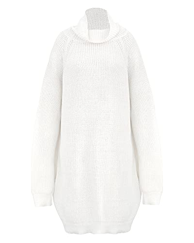 CALLA DREAM Jersey de punto para mujer, manga larga, cuello alto, elegante con bolsillos, vestido de punto para mujer, otoño-invierno, tallas grandes S-XL, Blanco, S