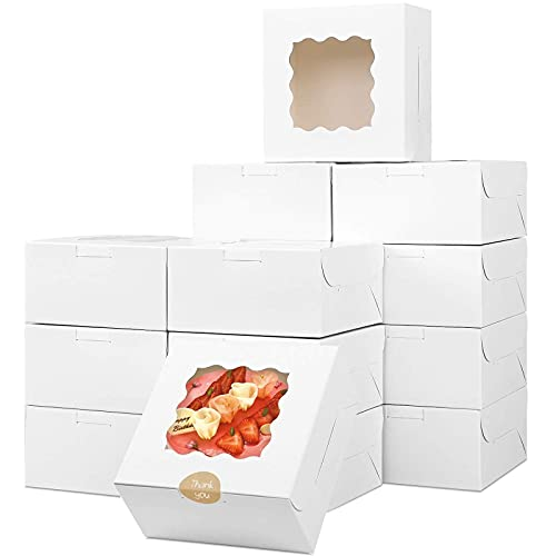 Moretoes 30pcs 6x6x3 Inches White Bakery Box with Window for Small Pie, Cookies, Cupcakes and Pastry