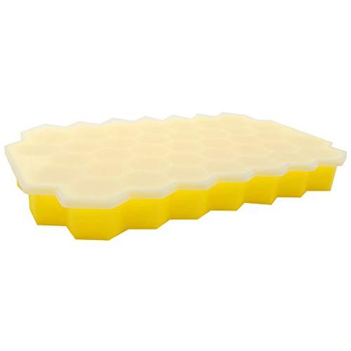 Huixindd Silicona Honeycomb Hielo Cube Bandeja Silicona Hielo Cubo Maker Molde con Tapa Helado Partido Whisky Cocktail Bebida fría (Cor : Yellow, Envio de : China)