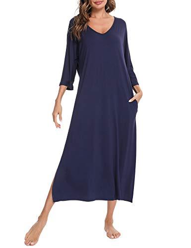 Aibrou Camisón de mujer, de algodón, de la novedad de la novedad de la camiseta, de dormir de manga corta, suelto, cómodo, pijama, ropa de dormir de, Azul / Patchwork, XL