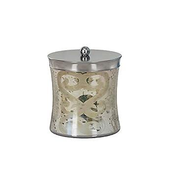 nu steel MG1H Mercury Glass Bathroom Vanity Countertop Storage Organizer Canister Jar for Cotton Swabs,Rounds,Balls,Makeup Sponges,Bath Salts-Etched