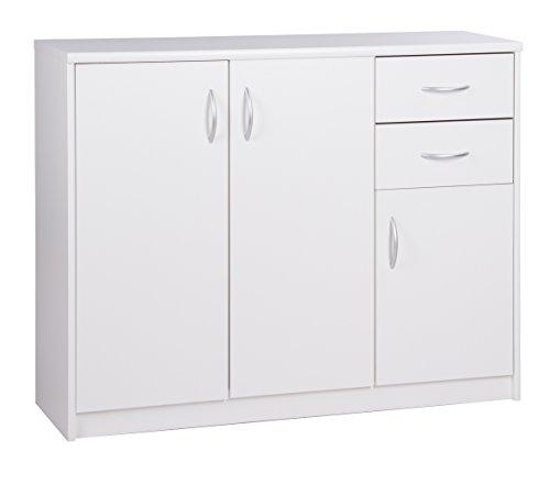 Kommode - Sideboard mit 3 Türen und 2 Schubladen (B/H/T: ca.: 109 x 85 x 35 cm) Topplatte 22 mm gesoftet, (Melaminharzbeschichtet - kratzfest & wasserabweisend) weiß