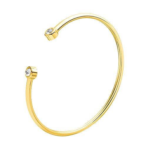 URBANHELDEN - Armreif mit Zirkonia Kristallen - Damen Schmuck - Verstellbar, Edelstahl - Armband mit Steinchen - Damenarmband Schmuck - Gold