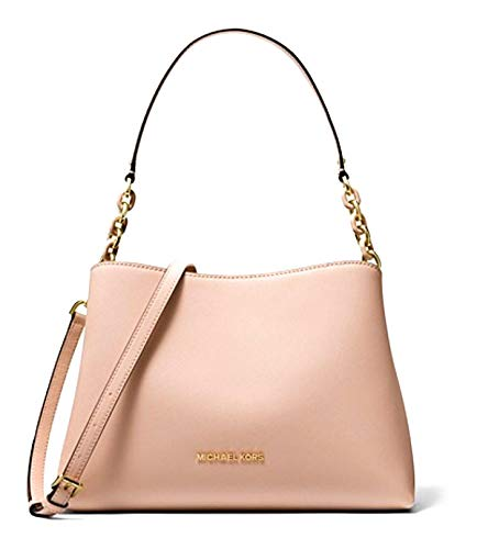 """Saffiano Leather, Golden Hardware Open top with strap fastening Interior Center zip compartment, 7 open slip pockets and 1 side zip pocket Shoulder strap with 9"""" drop; Comes with Adjustable and Removable Shoulder Strap 12.5""""(L) X 8.5""""(H) X 5""""(D)"""