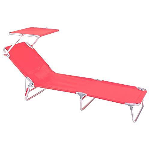 Tumbona Playa Cama con Parasol de 3 Posiciones de Aluminio y textileno de 190x58x25 cm (Coral)
