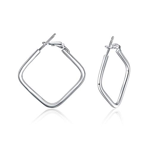 Creolen Damen Sterling Silver Quadrat Geometrische Creolen Ohrringe für Frauen Mädchen (Quadrat Creolen)