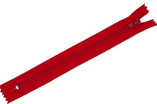 FIM Reißverschluss Nylon feine Spirale Nr.3 Nicht teilbar für Hosen usw. Farbe: 10 - rot(148), 40cm lang
