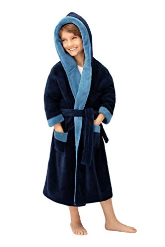 Envie Superflausch-Kinderbademantel/Kinder-Morgenmantel mit Kapuze, Navy-blau, Gr. 110-116 (5-6)