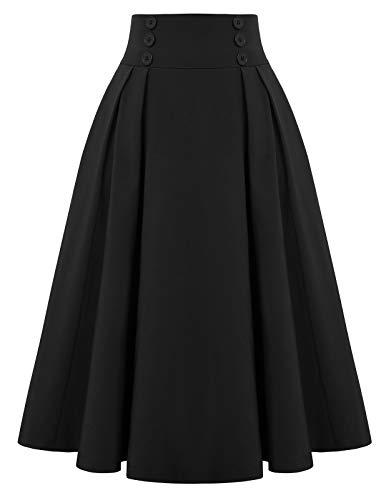 Belle Poque Womens Elastic Waist Black A-line Skirt with Pocket,Medium