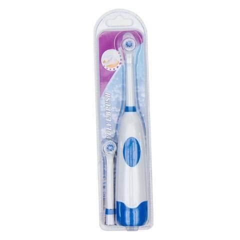 CHENTAOCS 1 Set Elektrische tandenborstel met 2 opzetborstels batterijen gevoede Mondhygiëne Geen oplaadbare tanden te poetsen for kinderen Makkelijk te gebruiken (Color : Blue)