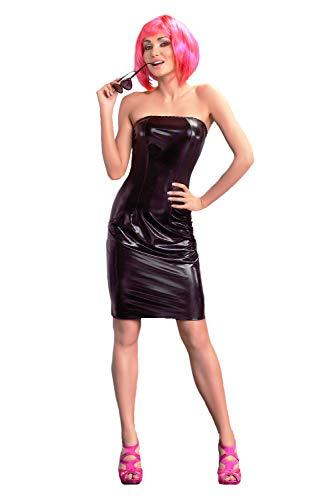 Selente Love & Fun Wet-Look Club/Mini-Kleid (Made in EU) aus hochwertigem Kunst/Lack-Leder in toller Geschenkbox, Gr. XXL/3XL schwarz mit Pinker Schnürung