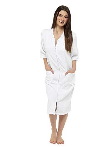 CityComfort® Toalla para mujer Botón o toalla de baño con cremallera para mujer - Albornoz grande con toalla (M, cremallera blanca)