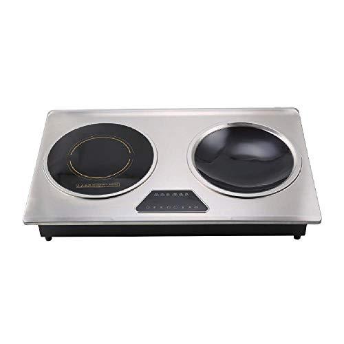 Table de Cuisson Induction, cuisinière à Induction 4200W Commercial Concave Planar Bureau Double-tête du Four Double Ventilateur du dissipateur de Chaleur en Acier Inoxydable Poêle électrique,Silver