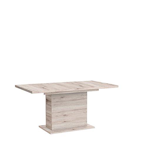 FORTE Calpe Esstisch mit Synchronauszug und einer innenliegenden Einlage, Holz, sandeiche, 160 x 90 x 76.59 cm