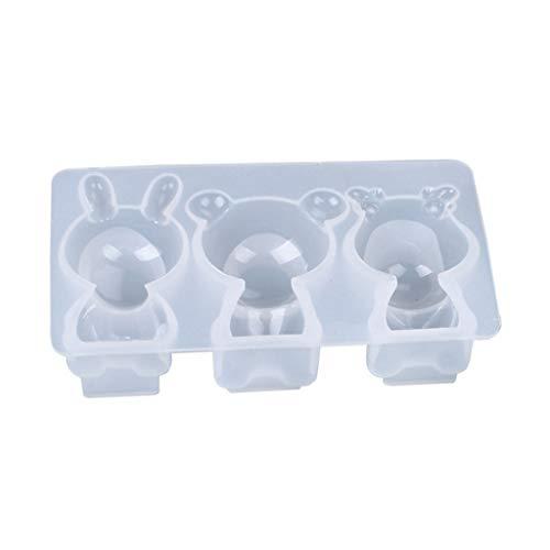 BOBEINI DIY Manualidades Decoraciones Herramienta de fabricación de Joyas Cristal Molde de Resina epoxi 3D Oso muñeca Adorno Molde de Silicona # 2