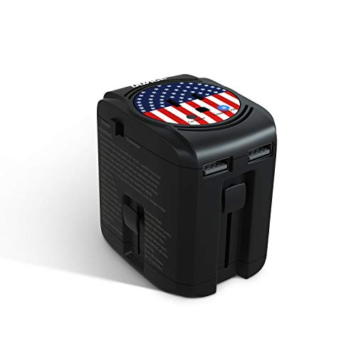 DOACE 2000W Travel Adapter Converter All In One Combo with Dual USB, Step Down Voltage 220V to 110V for Hair Dryer Straightener Curling Iron Laptop Camera Cell Phone, US to EU/AU/UK Over 190 Countries