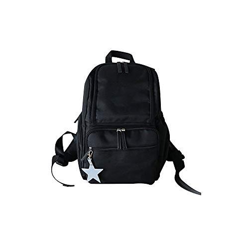 PUPPAPUPO マザーズリュック リフレクタースターチャーム付き マザーズバッグ 背面ポケット 大容量 軽量 おしゃれ リュック バッグ_ブラック