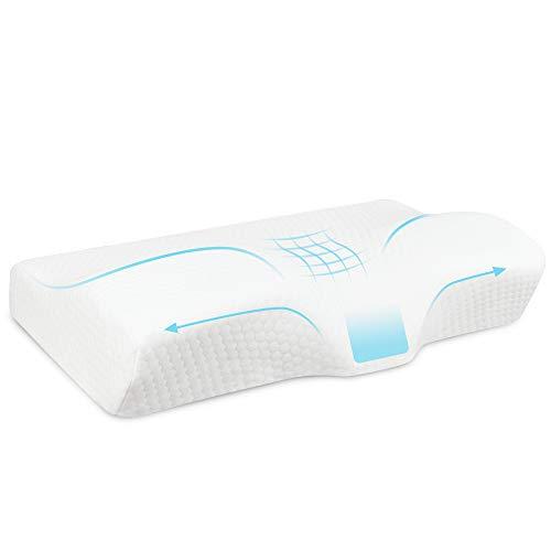 Maxee Memory Foam Kissen (33cm*60cm), Ergonomisches Nackenkissen, Kissen für Nackenschmerzen, Schlafkissen für Seitenschläfer und Rückenschläfer, Doppelter Kissenbezug