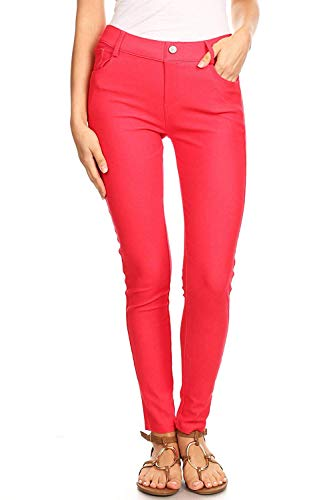 Women's Red Jeggings with Pockets Pull On Skinny Stretch Colored Jean Leggings Size Small