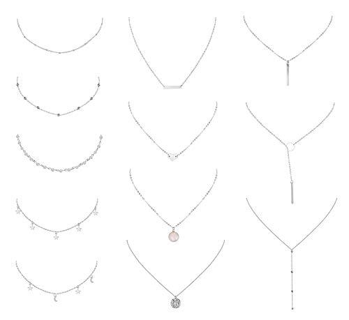 YADOCA 12 Stück Mehrschichtige Halskette für Frauen Mädchen Herz Blatt Stern Mond Türkis-Perlen Anhänger Halskette Retro Choker Schlüsselbein Kette