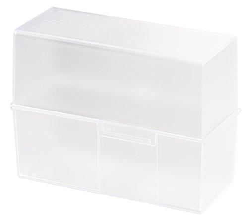 HAN Karteibox DIN A5 quer – transparentes, attraktives Design für 500 Karteikarten mit Stahlscharnier, transluzent-klar
