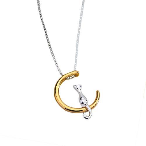 Mingtongli Joyería de la cadena única luna creciente del gato colgantes color oro collar de aleación de mujeres clavícula