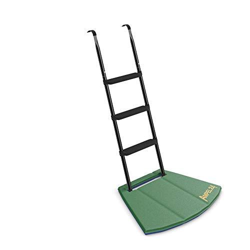 Ampel 24 Trampolin Leiter 110 cm lang mit zweifarbiger Fußmatte, Treppe schwarz mit 3 Breiten Stufen, praktischer Einstieg für große Gartentrampoline