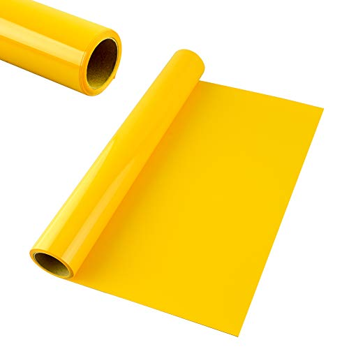 KISSWILL Iron on Vinyl HTV 12' x 6' HTV Vinyl Rolls for T-Shirts, Thermal Transfer Vinyl Compatible with Silhouette Cameo & Cricut or Heat Press Machine (Yellow, 12in 6ft)