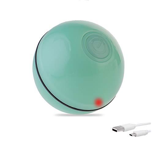 Litthing Pelota de Juguete Interactivo Inteligente Divertida para Gatos Bola Automática Rodante para Gatito Mascota Juguete Recargable USB con Luz LED Bola Giratoria 360 Grados (Verde)