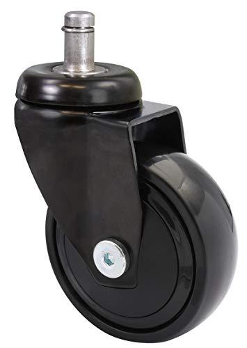 WAGNER ultrawendige 360° - 3C - Design-Lenkrollen/Apparaterollen/Möbelrollen - schwarz, Softlauffläche, mit Steckstift 11 x 22 mm, Durchmesser 75 mm, Tragkraft 75 kg - 01227761