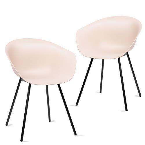 Mc Haus MERAKI - Pack 2 sillas comedor modernas para cocina y salon sillon nordico salon diseño dormitorio escritorio color beige 52x48x76cm