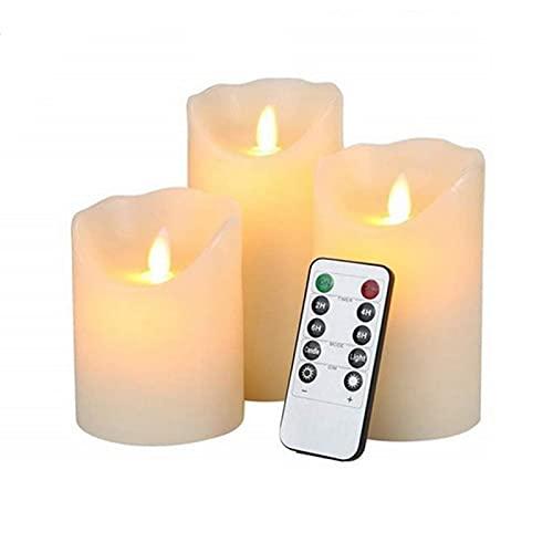Tres piezas traje sin llama velas lámpara con control remoto LED velas velas de té, 3d velas sin llama parpadeando, sin perfume al aire libre caliente llama blanca realista velas lámpara