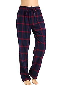 CYZ Women s 100% Cotton Super Soft Flannel Plaid Pajama/Louge Pants-F17019-L