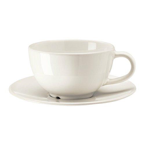 IKEA VARDAGEN Teetasse mit Untertasse; in elfenbeinweiß; aus Steinzeug; (26cl)