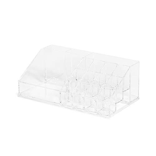 Compactor Cosmetic Organizer Trapozoidale Per Trucchi, 22,3 x 12,7 x H 8 cm, Polistirene, Trasparente, RAN5051
