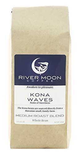 River Moon Coffee, Kona Coffee Beans, Medium Roast, 16 Ounce, Kona Waves Blend, Sustainably Farmed, Hawaiian Blend Coffee, 100% Arabica