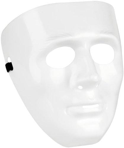 infactory Halloween-Gesicht: Weiße Maske aus Hartplastik (Gesichtsmaske für Party, Halloween, Fasnacht, Karneval, Fasching)