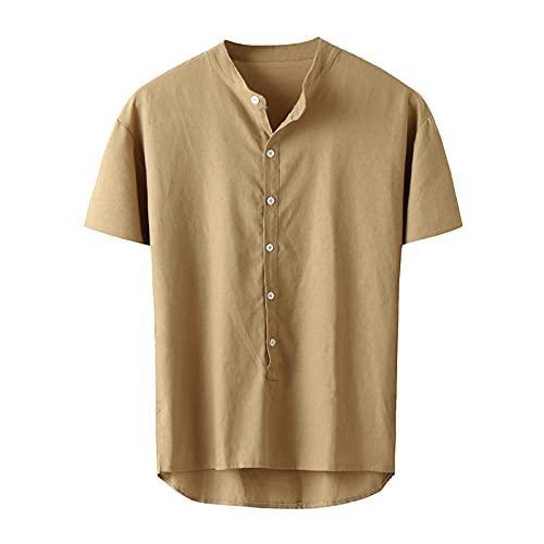 SSBZYES Camisa para Hombre Manga Corta Verano Cuello Alto Camiseta De Manga Corta De Color Sólido Camiseta Casual Camisa De Lino De Manga Corta Camisa Casual De Algodón Y Lino