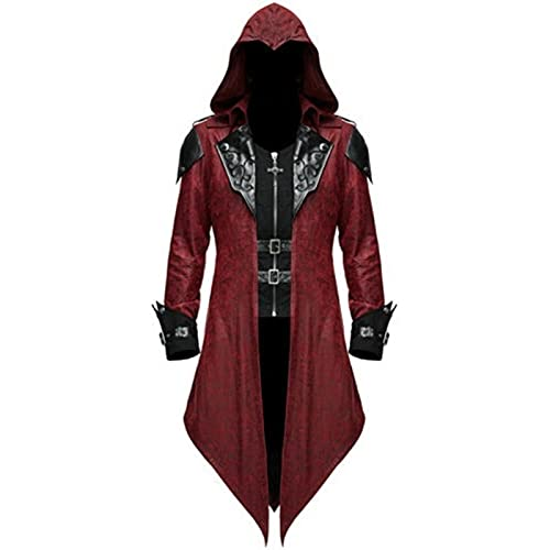 Jiumaocleu Abrigo gótico para hombre con capucha, capa medieval de cola victoriana steampunk medieval Halloween Masquerade Retro empalme traje capa S-5XL, rosso, XXL