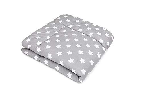 SWADDYL ® Baby Krabbeldecke Sterne Grau - Kuscheldecke, Spieldecke, Laufgittereinlage 100x100 groß gepolstert (100x100)