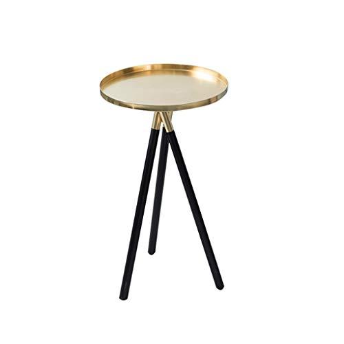 Yyqx Table de Nuit Table Basse dorée élégante, côté Sofa de pièce, Table d'appoint Ronde créative Simple Table de Chevet La