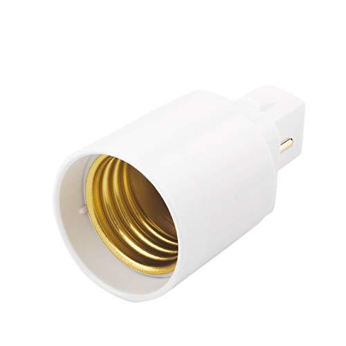 Easyeeasy Adaptador de enchufe de luz LED G24 a E27 Convertidores Soporte de lámpara Adaptador de base de bombilla de 2 pines, PBT retardante de llama, Accesorios LED