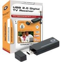 Conceptronic USB 2.0 Digital TV Receiver - Sintonizador de TV (DVB-T, 1024 x 768 Pixeles, USB, 256 MB, 250 MB, 1.8GHz) Negro