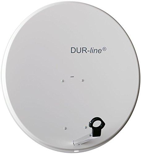 DUR-line MDA 80cm Hellgrau - Aluminium Satellitenschüssel mit LNB Feedhalterung - Sat Antenne Spiegel Anlage [Digital, Camping, Astra 19,2°, DVB-S/S2, Full HD, 4K, 3D]