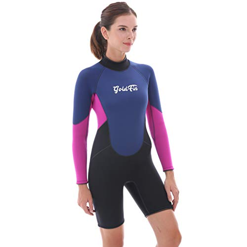 GoldFin Womens Shorty Wetsuits 3mm Neoprene Wetsuit, Back Zip Long Sleeve for Diving Surfing Snorkeling-One Piece Wet Suit, SW009 (Navy, 4XL)