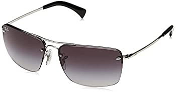 Ray-Ban Men s RB3607 Metal Rectangular Sunglasses Silver/Grey Gradient 61 mm